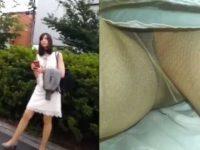 エスカレーターパンチラ盗撮!パンスト越しパンツも顔も撮られるワンピース女性