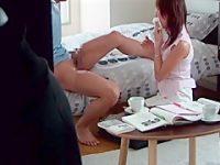 勉強中にフェラチオ口内発射!一発抜いても萎えない生徒にハメられる美人家庭教師