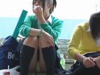 隠す様子もない座りパンチラ!両膝を閉じても正面から丸見えのミニスカギャルたち