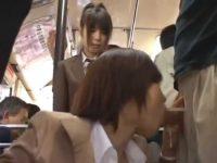 バス内でフェラチオさせる痴漢!しゃぶる姿をじっと見てる制服娘が続けて襲われる