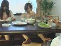 朝食中にテーブルの下で足コキ「いつまで食べてるの?」パンツの中に発射してしまう兄