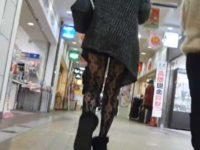 街撮り美脚ギャル!短パンに派手な柄パンストを後ろから前からひたすら追いかける
