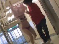 病院でナース服めくり!おっぱいまで見られて巾着状態で回転しちゃう看護婦