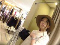 アパレル店員パンチラ盗撮!オシャレな帽子のかわいい雰囲気に似合う柄パンティー